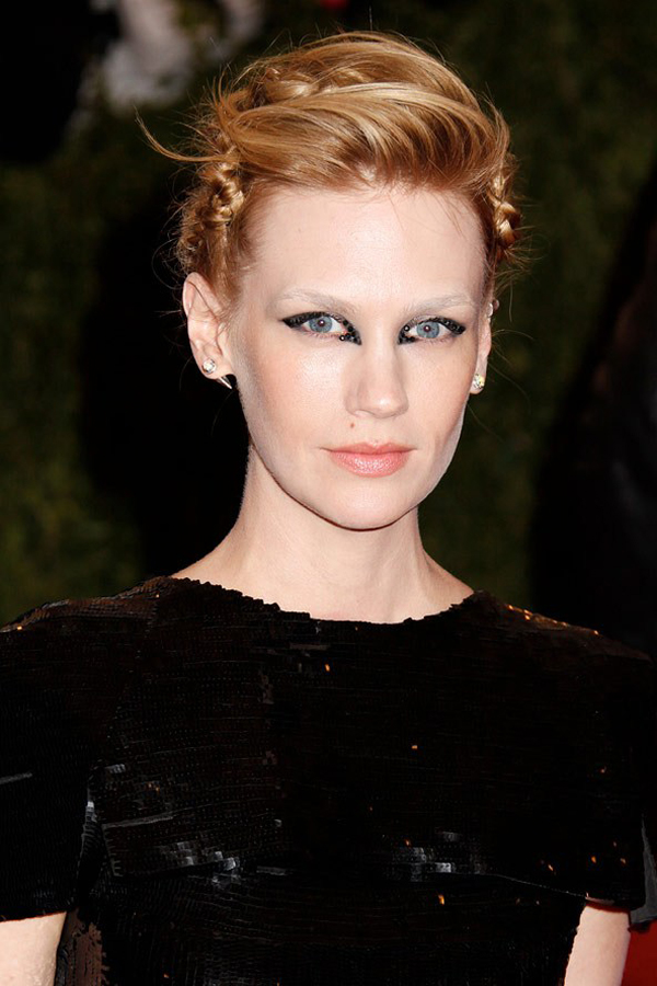 january jones bold makeup choice